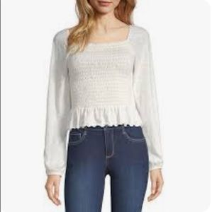 Arizona Womens Square Neck Long Sleeve Blouse